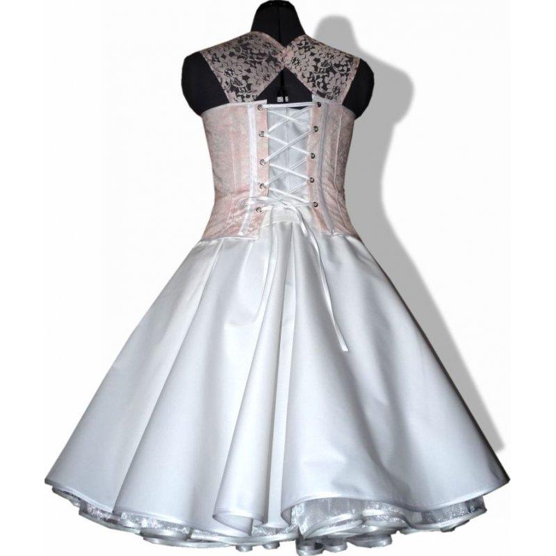 50er jahre brautkleid hochzeit wei zum petticoat dekoltee rosa. Black Bedroom Furniture Sets. Home Design Ideas