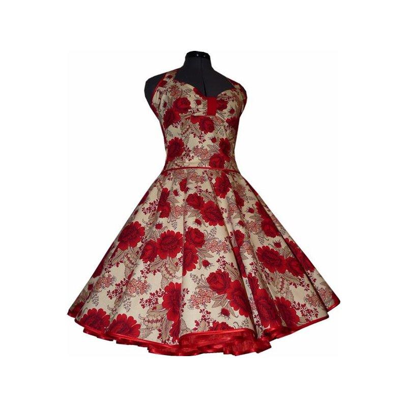 50er jahre kleid zum petticoat creme rote rosen m1 tanzkleid der 50e. Black Bedroom Furniture Sets. Home Design Ideas