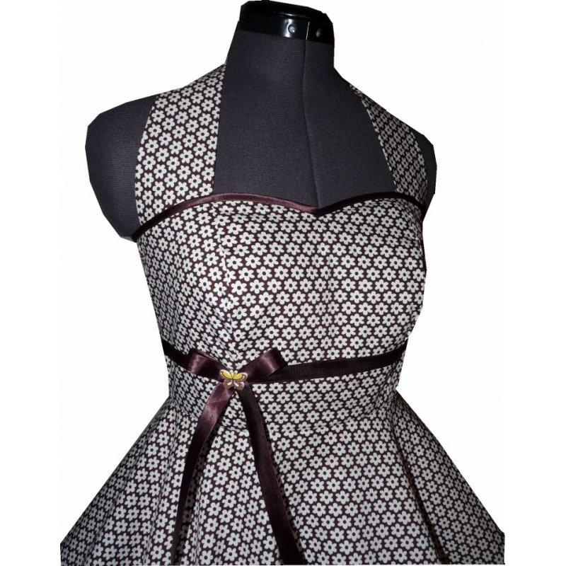 50er tanzkleid zum petticoat braun wei e kleine. Black Bedroom Furniture Sets. Home Design Ideas