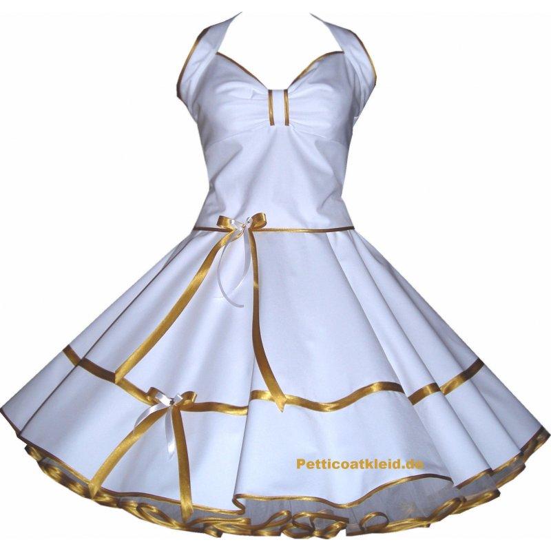 Brautkleid der 50er Jahre weiß gold, Tanzkleid-der-50er