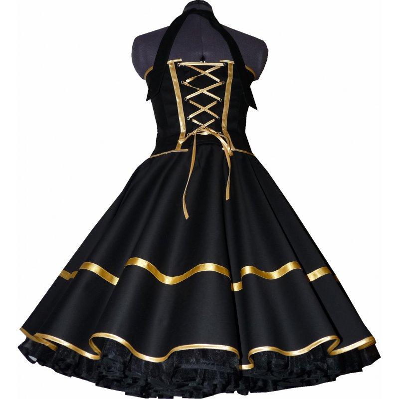 festliches 50er kleid zum petticoat schwarz dekoltee gold. Black Bedroom Furniture Sets. Home Design Ideas