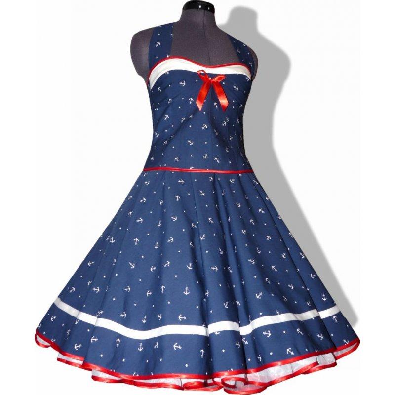 kleid zum petticoat marine sailor blau anker wei rot tanzklei. Black Bedroom Furniture Sets. Home Design Ideas