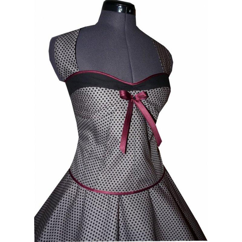 kleid zum petticoat grau kleine schwarze punkte tanzkleid der 50er. Black Bedroom Furniture Sets. Home Design Ideas