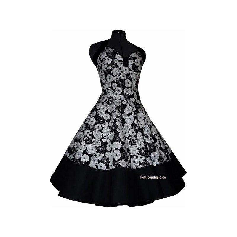 petticoat kleid schwarz wei es blumendessin tanzkleid der. Black Bedroom Furniture Sets. Home Design Ideas