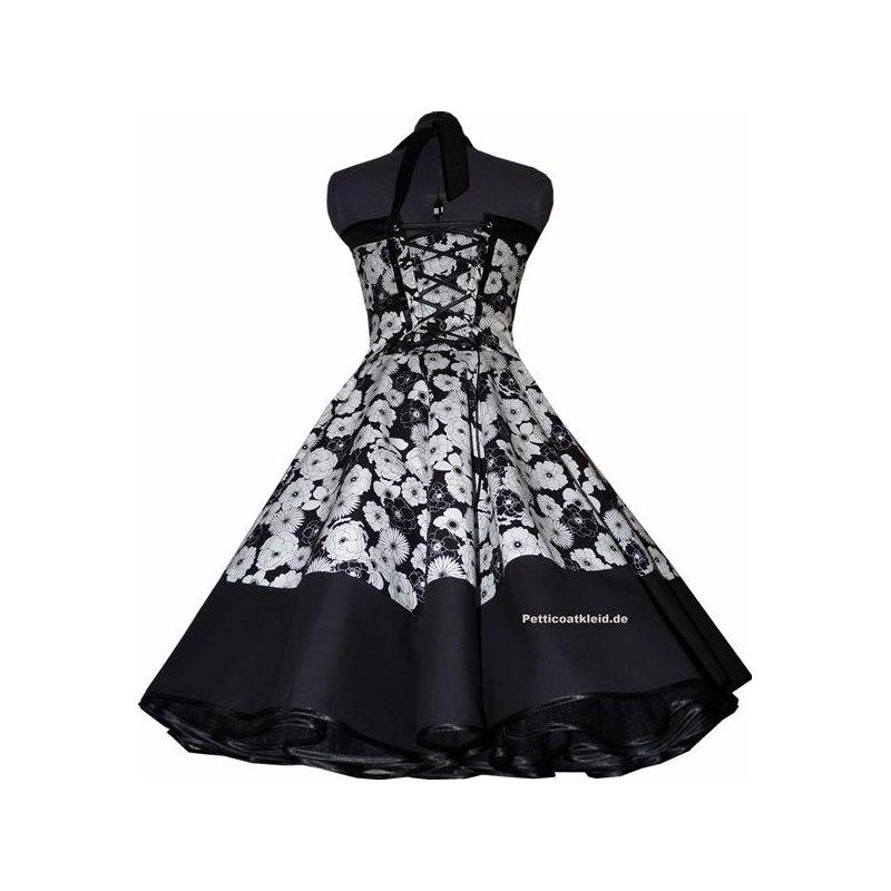 petticoat kleid schwarz wei es blumendessin tanzkleid der 50er. Black Bedroom Furniture Sets. Home Design Ideas