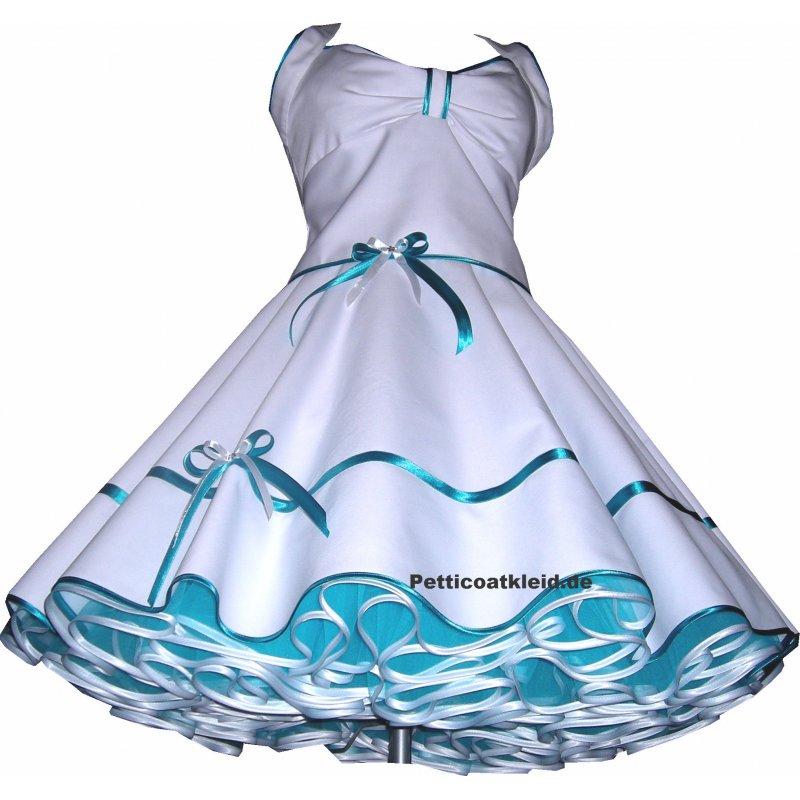 50er Jahre weiß od. creme Brautkleid mit Satinbandfarbe zur Wahl