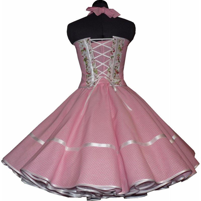 petticoatkleid rosa mit punkten und bl ten tanzkleid der 50er. Black Bedroom Furniture Sets. Home Design Ideas