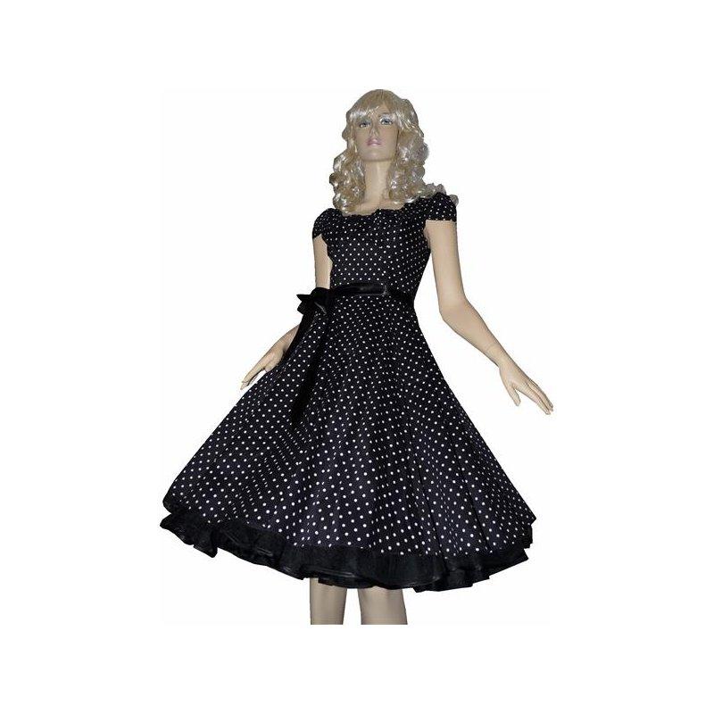 punktekleid schwarz kleine wei e tupfen mit t llunterrock. Black Bedroom Furniture Sets. Home Design Ideas