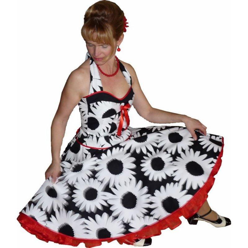 tanzkleid 50er zum petticoat schwarz wei e gro e blumen 3. Black Bedroom Furniture Sets. Home Design Ideas
