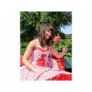 50er Korsagen Petticoat Kleid rot kleine weiße Punkte, Tanzklei