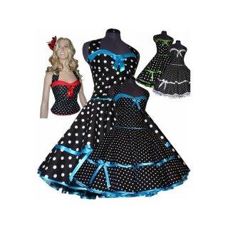 50er korsagen petticoat kleid punkte dekolte farbig. Black Bedroom Furniture Sets. Home Design Ideas