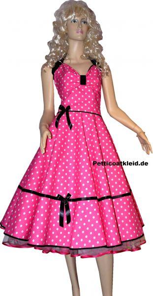 Punkte petticoat kleid pink weiße tupfen schwarzer akzent
