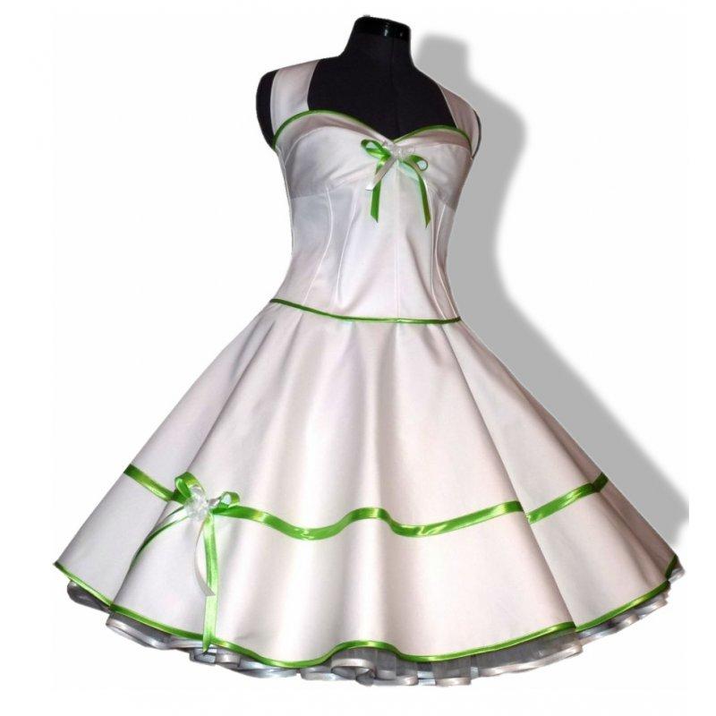 50er Brautkleid Korsage weiß mit Bänderwahl - Tanzkleid-de