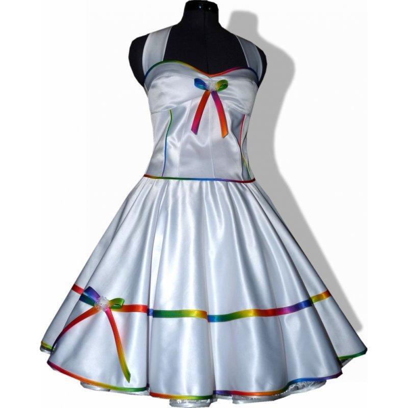 50er Brautkleid weiß Rockabilly Hochzeit zum Petticoat Band reg