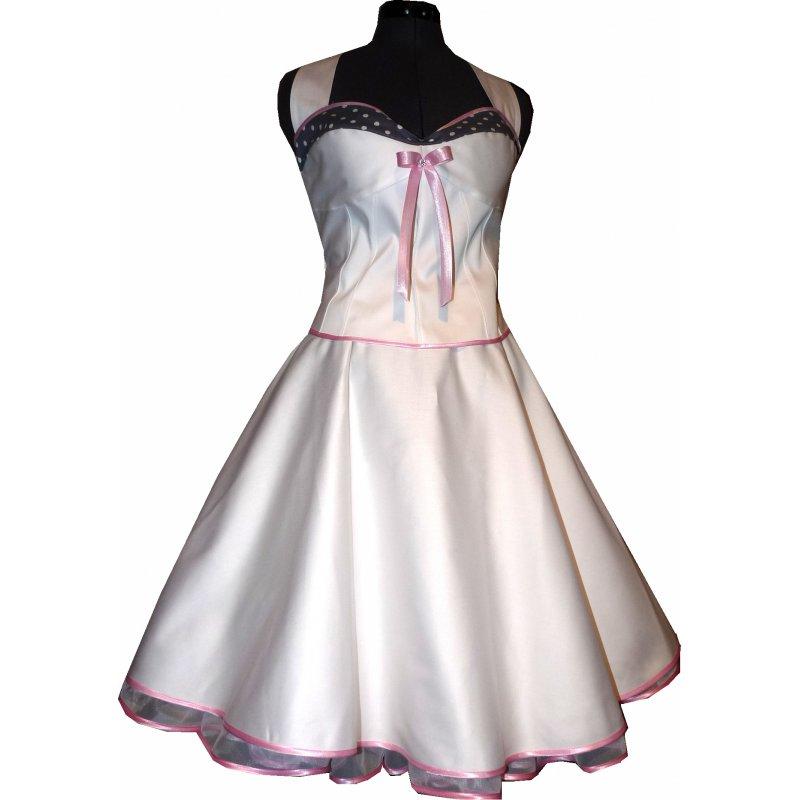 50er Jahre Brautkleid weiß grau rosa Akzent mit Punkten - Tanzk