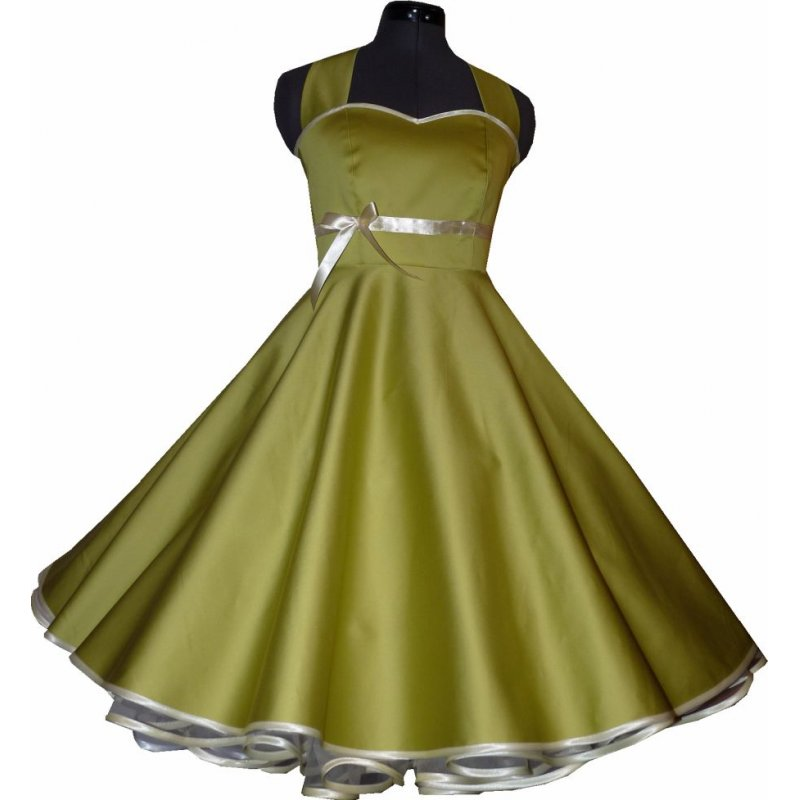 50er jahre kleid tanzkleid uni olivgr n zum petticoat. Black Bedroom Furniture Sets. Home Design Ideas
