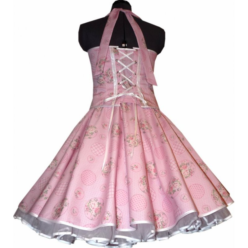 50er jahre kleid zum petticoat tanzkleid vintage rosa rosen punkte 36. Black Bedroom Furniture Sets. Home Design Ideas
