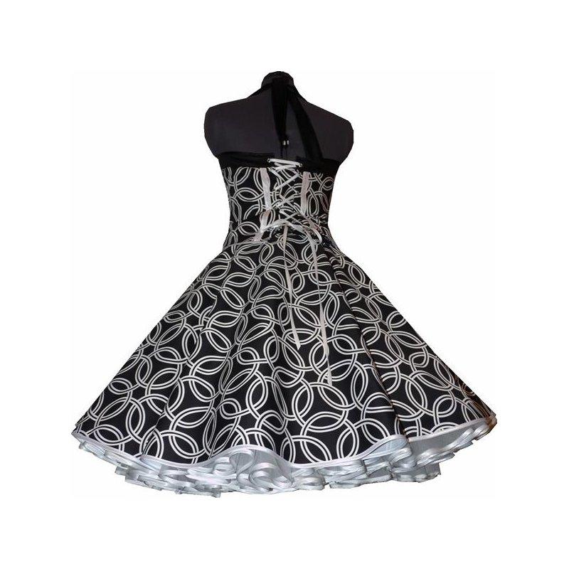 50er jahre petticoatkleid schwarz wei e kreise vintage. Black Bedroom Furniture Sets. Home Design Ideas