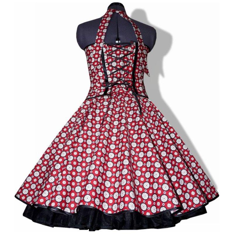 50er jahre retro kleid zum petticoat vintage rot schwarz wei e. Black Bedroom Furniture Sets. Home Design Ideas