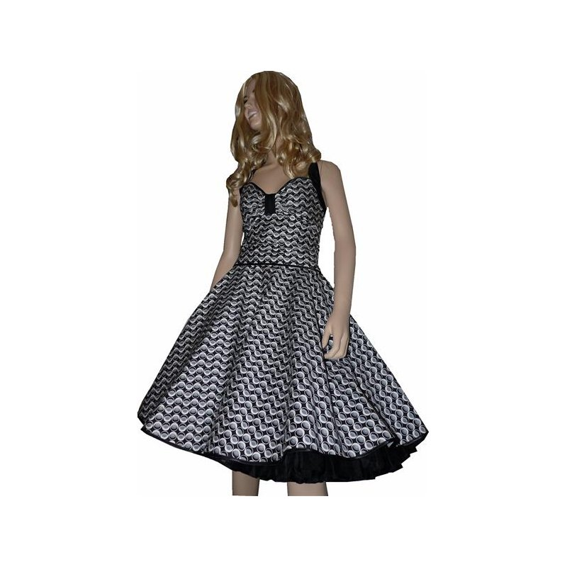 50er jahre retro vintage petticoat kleid punkte schwarz. Black Bedroom Furniture Sets. Home Design Ideas