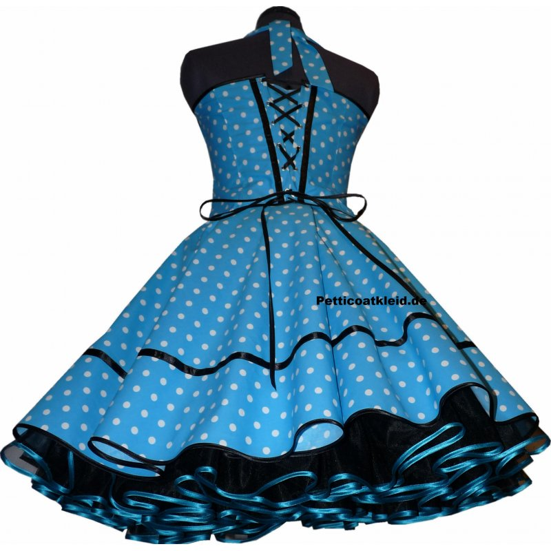 50er kleid punkte petticoat t rkis gr n blau orange pink b. Black Bedroom Furniture Sets. Home Design Ideas