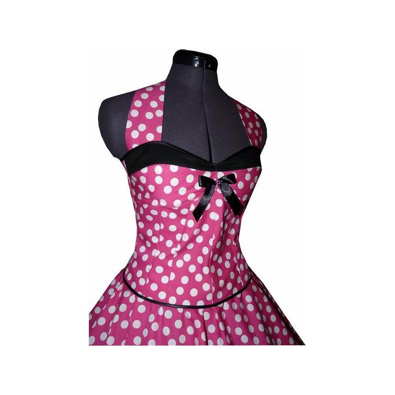 50er kleid zum petticoat pink wei e tanzende punkte schwarz t. Black Bedroom Furniture Sets. Home Design Ideas