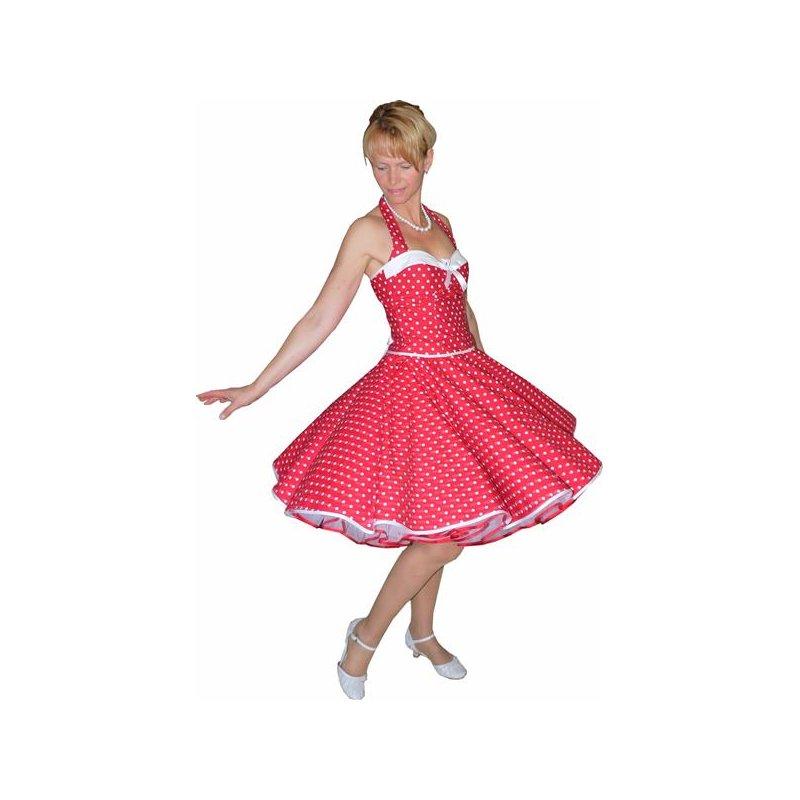 50er korsagen petticoat kleid rot kleine wei e punkte tanzkle. Black Bedroom Furniture Sets. Home Design Ideas