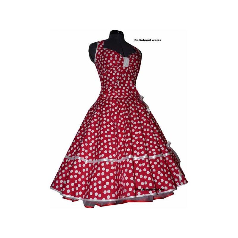 50er Petticoatkleid 3 rot tanzende weiße Punkte, Tanzkleid-der-