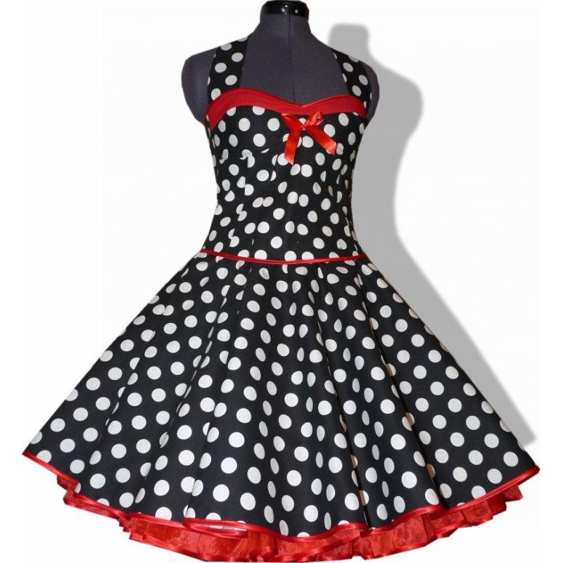 50er punkte kleid zum petticoat schwarz wei e punkte rote. Black Bedroom Furniture Sets. Home Design Ideas