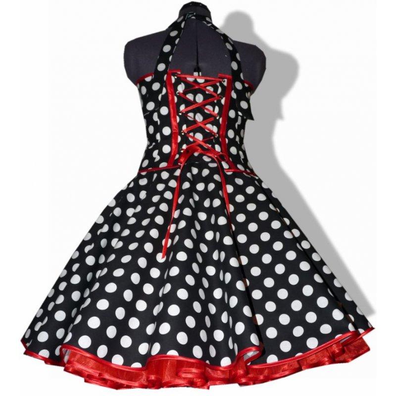 50er punkte kleid zum petticoat schwarz wei e punkte rote b aum. Black Bedroom Furniture Sets. Home Design Ideas