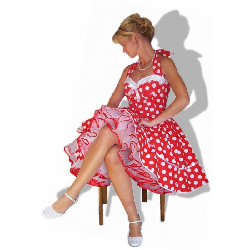new product 416f4 da6f6 50er Punkte Korsage Petticoatkleid rot weiße große Tupfen