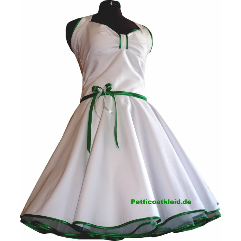 Brautkleid 50er Jahre Petticoatkleid weiß grasgrün Vintage