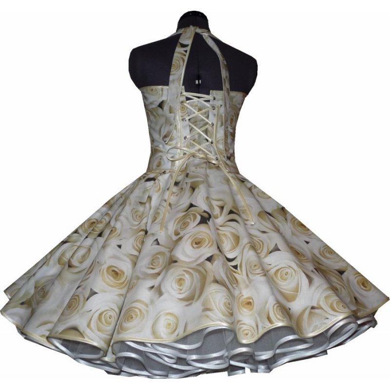 brautkleid zum petticoat hochzeit 50er jahre creme rosen b nderf. Black Bedroom Furniture Sets. Home Design Ideas