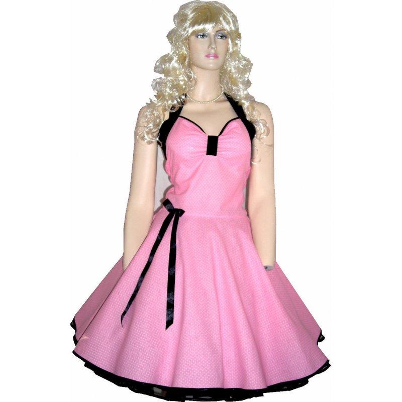 Einteiler-Kleid Rockabilly rose-weiße kleine Punkte, Tanzkleid-