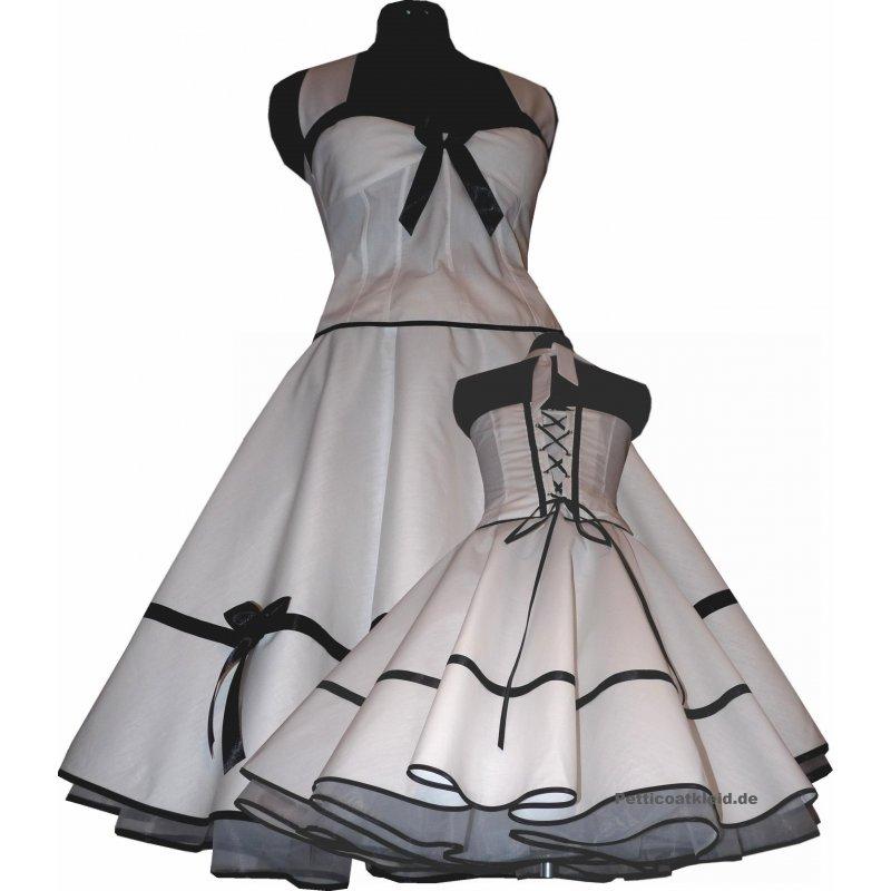 festliches wei es braut petticoat kleid korsage schwarz. Black Bedroom Furniture Sets. Home Design Ideas
