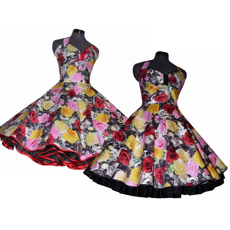 kleid zum petticoat rosen sepia schwarz wei rosa gelb tanzkl. Black Bedroom Furniture Sets. Home Design Ideas