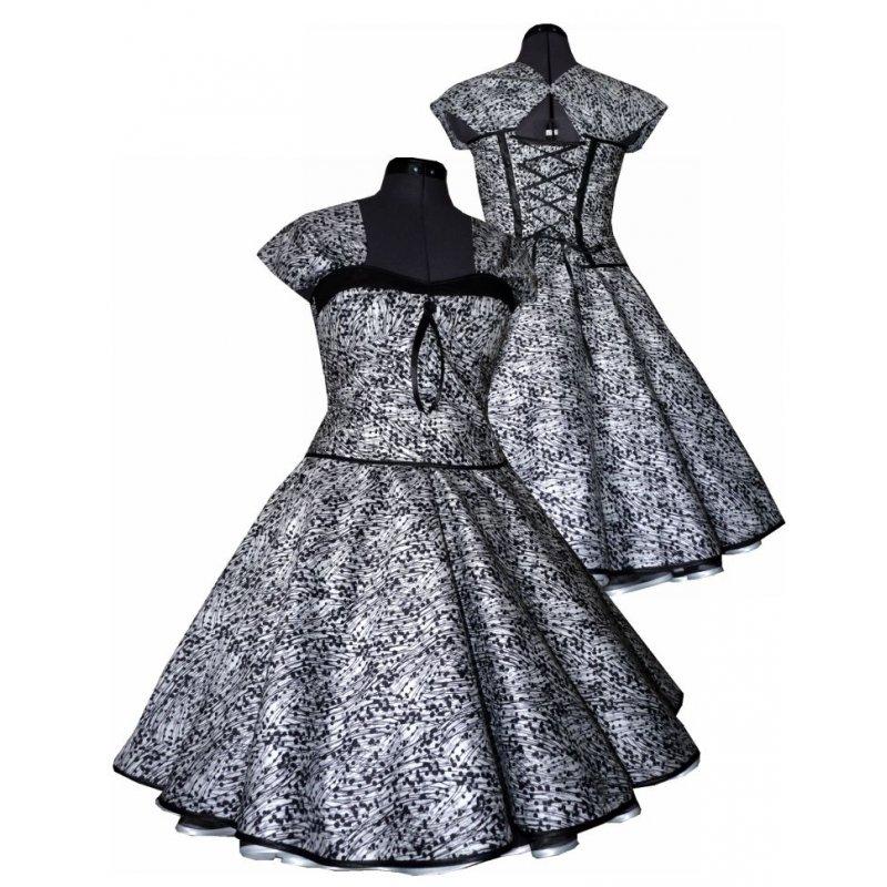 kleid zum petticoat wei schwarze abstrakte punkte rmelde. Black Bedroom Furniture Sets. Home Design Ideas