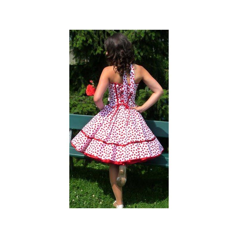 Petticoat Kleid 50th Korsagen weiss rote Punkte wirbelnd, Tanzkleid-d