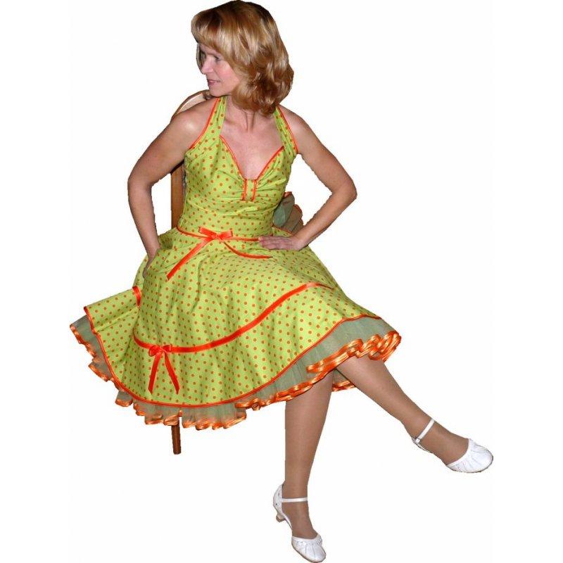 petticoat kleid 50th gr n orange punkte tanzkleid der 50er. Black Bedroom Furniture Sets. Home Design Ideas