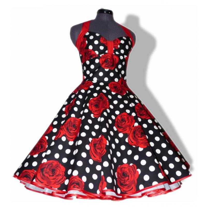 petticoat kleid tanzkleid schwarz wei e punkte rote rosen tanz. Black Bedroom Furniture Sets. Home Design Ideas