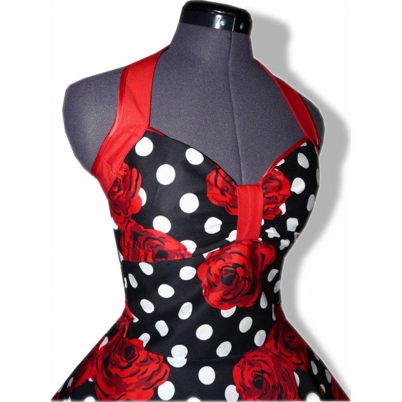 petticoat kleid tanzkleid schwarz wei e punkte rote rosen. Black Bedroom Furniture Sets. Home Design Ideas