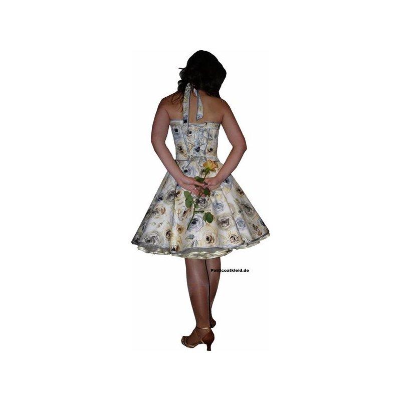 petticoat kleid creme filigrane silberne braunen rosen