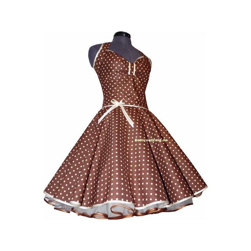 punkte petticoat kleid 2 braun mit creme wei oder rosa. Black Bedroom Furniture Sets. Home Design Ideas