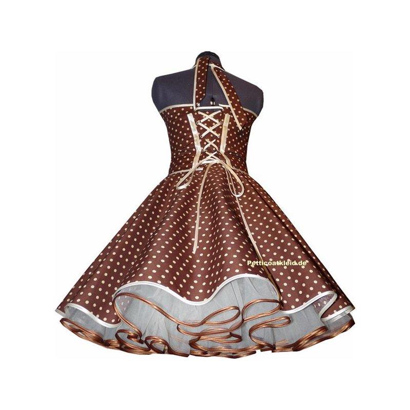Punkte Petticoat Kleid 2 braun mit creme, weiß oder rosa ...