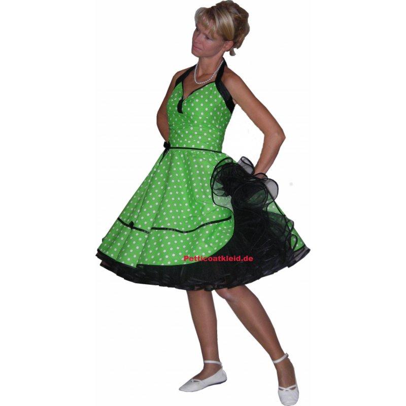 Punkte Petticoat Kleid apfelgrün-weiße Tupfen schwarzer Ak
