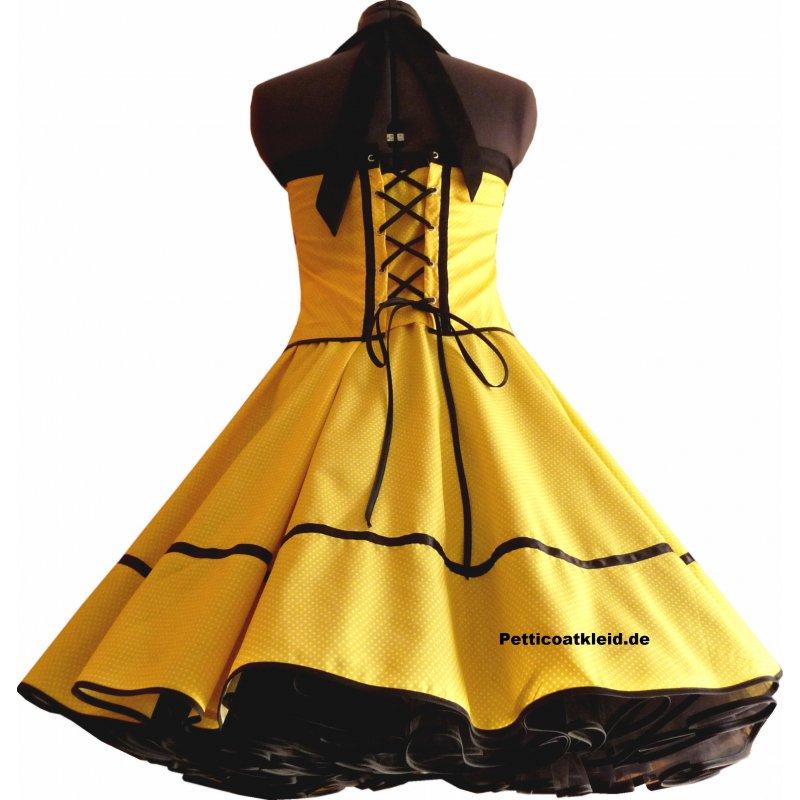 punkte petticoat kleid gelb schwarz kleine wei e tupfen. Black Bedroom Furniture Sets. Home Design Ideas