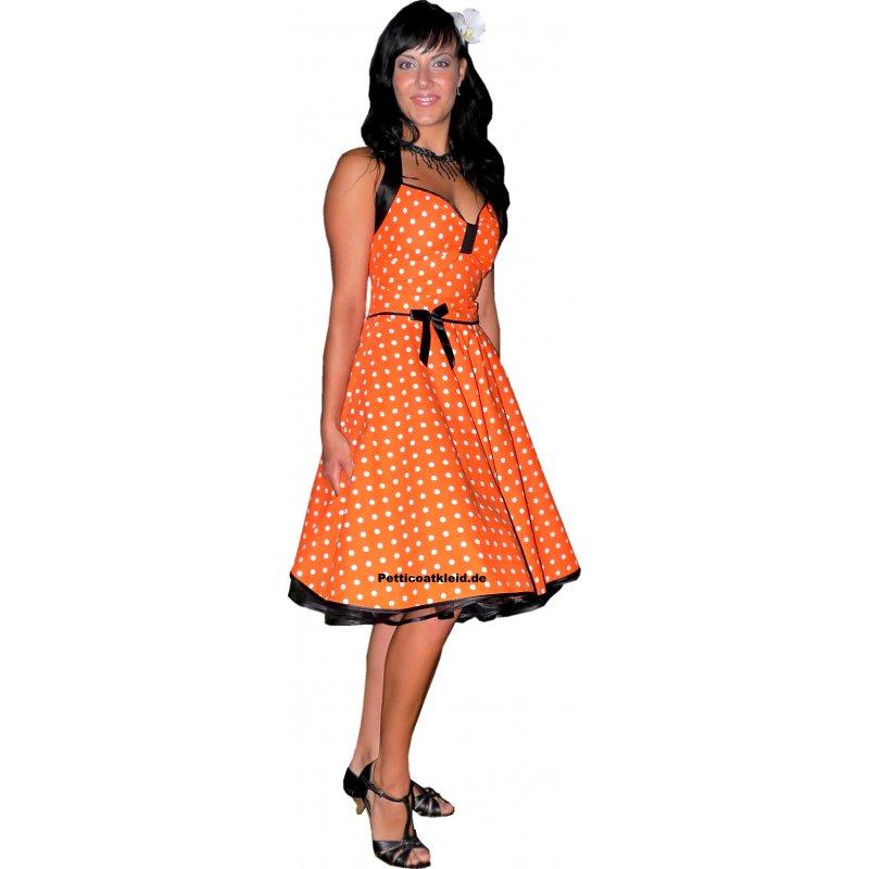 punkte petticoat kleid orange wei e tupfen schwarzer. Black Bedroom Furniture Sets. Home Design Ideas