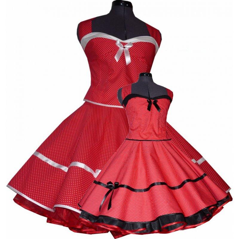 punkte petticoatkleid der 50er jahre rot winzige wei e tupfen. Black Bedroom Furniture Sets. Home Design Ideas