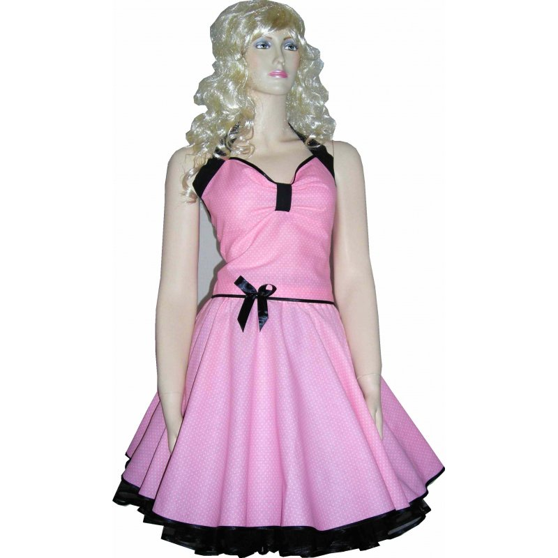 Punktekleid Petticoat rosa kleine weiße Tupfen schwarz, Tanzkle
