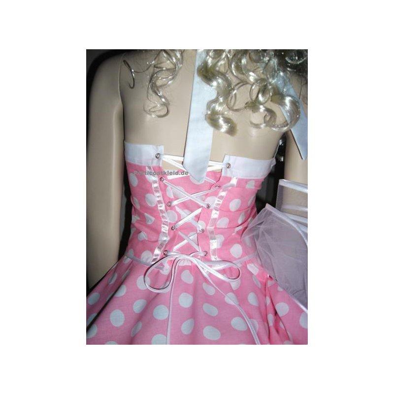 Punktekleid Rockabilly rosa große weiße Tupfen, Tanzkleid